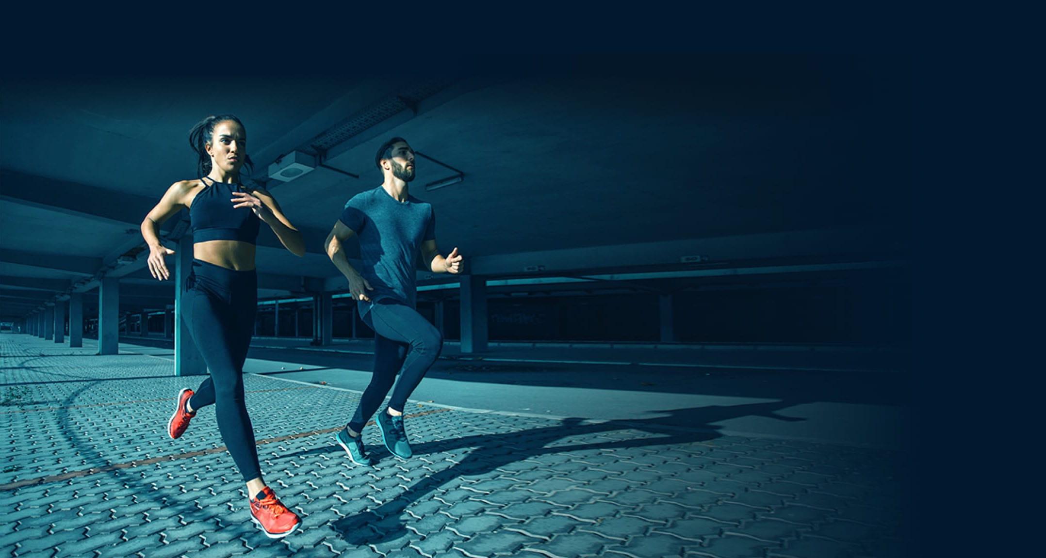 man women jogging